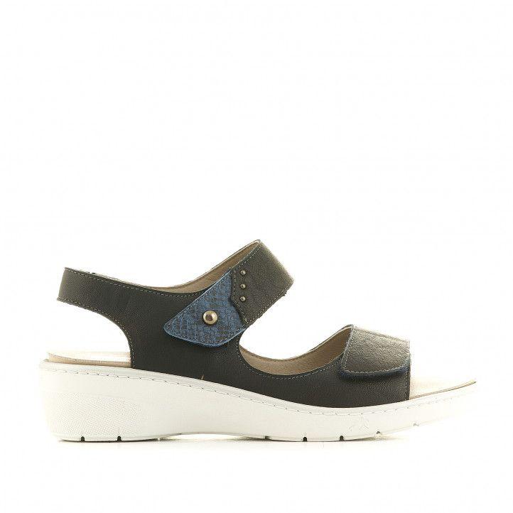 Sandalias cuña Fluchos azules oscuro con detalle animal print - Querol online