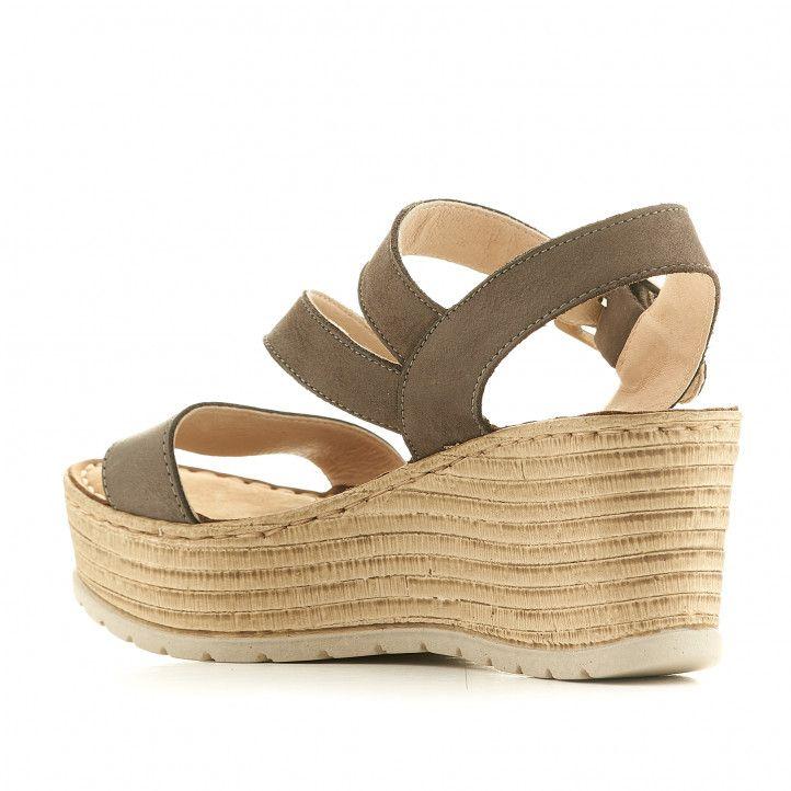 Sandalias cuña Walk & Fly grises verdosas - Querol online