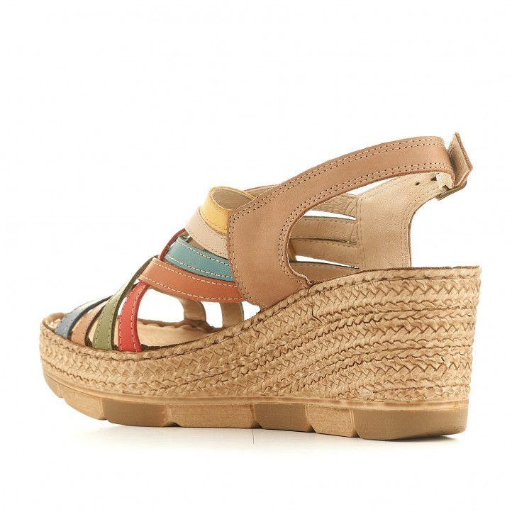 Sandàlies falca Walk & Fly marrons amb tires multicolor - Querol online