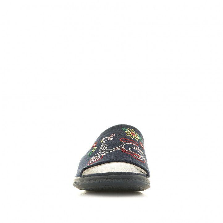 Zapatillas casa Garzon azules oscuras con moto - Querol online