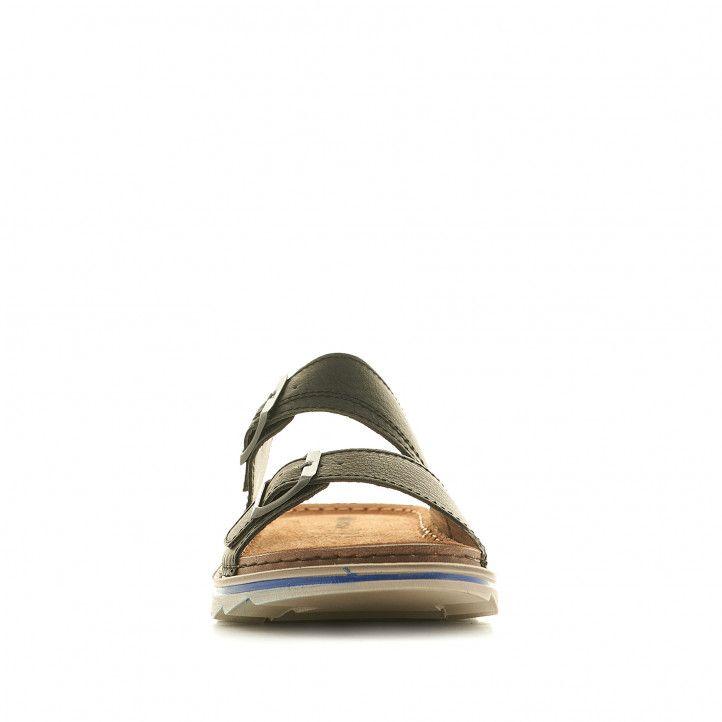 Sandalias In Blu negras con hebillas metalizadas - Querol online