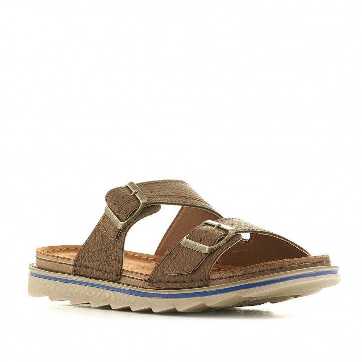 Sandalias In Blu marrones con hebillas metalizadas - Querol online