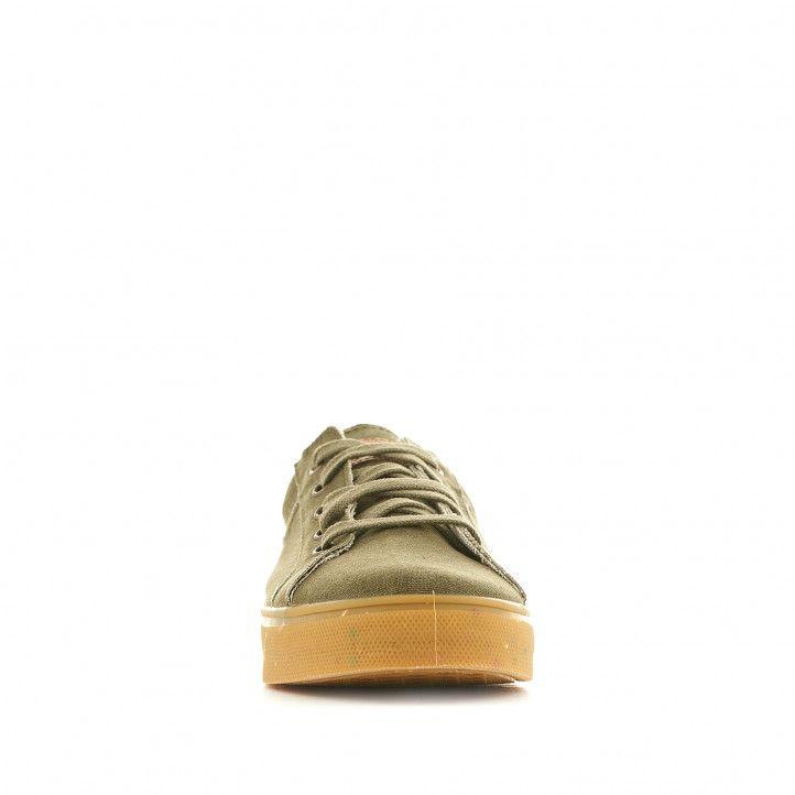 Zapatillas lona SHOECOLOGY veganas verdes con suela marrón y talón naranja - Querol online