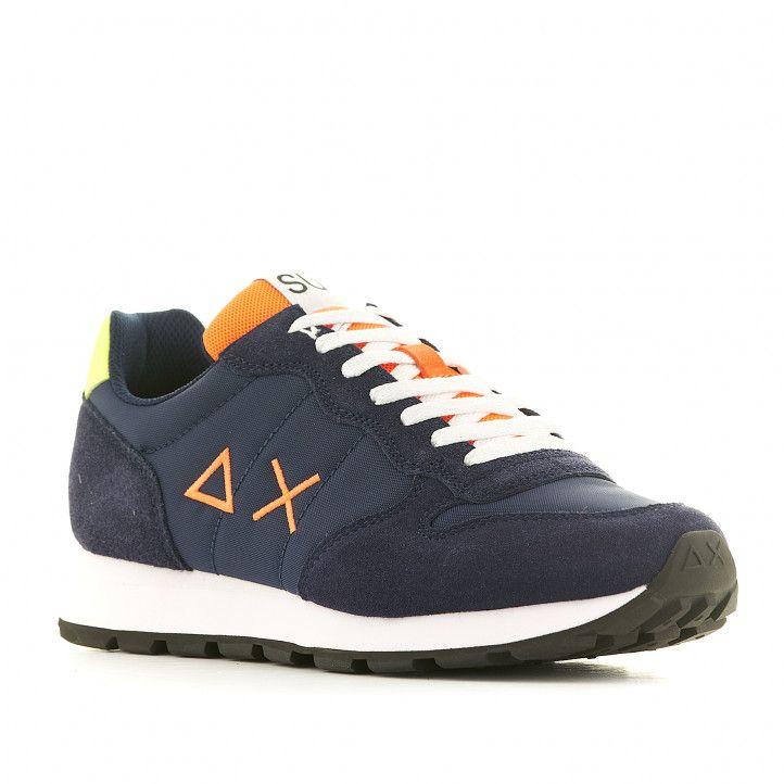 Zapatillas deportivas SUN68 azules con logo naranja y talón amarillo - Querol online