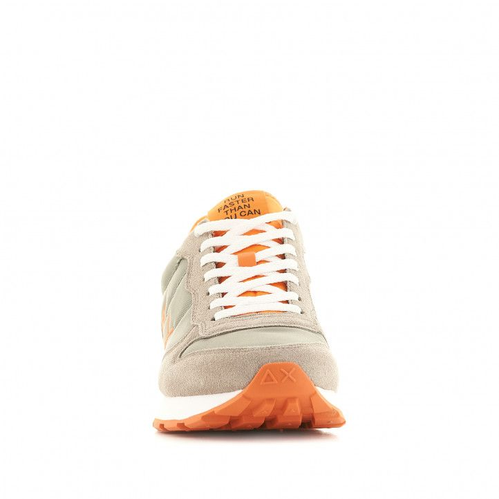 Zapatillas deportivas SUN68 grises con detalles en naranja - Querol online
