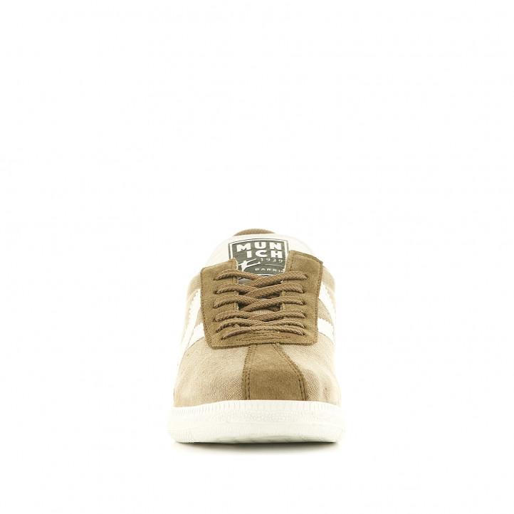Zapatillas lona Munich barru 84 kakis con logo en blanco - Querol online
