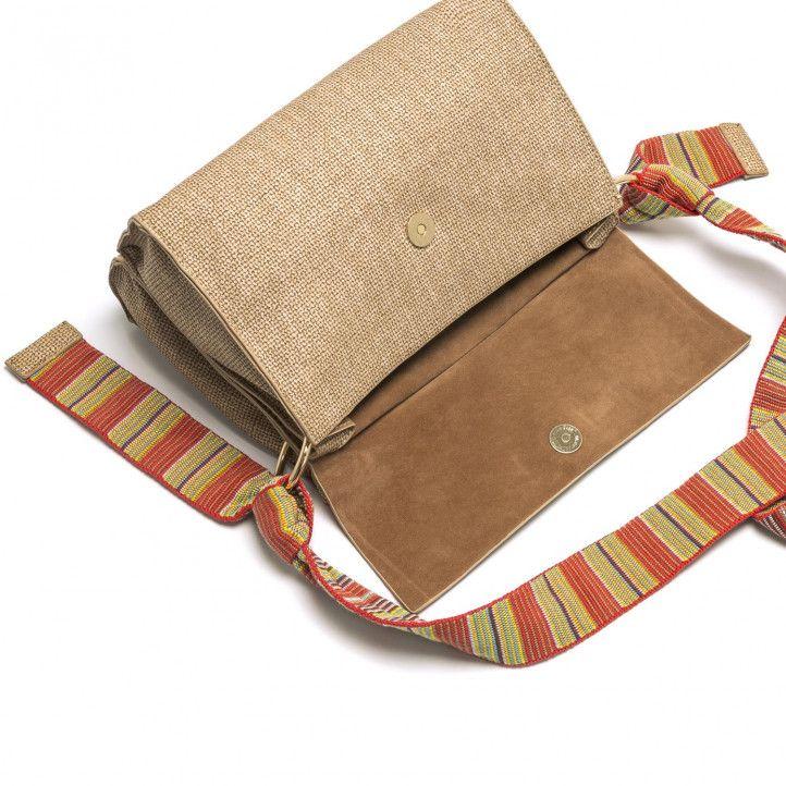 bolsos Maria Mare beige en formato bandolera con asas multicolores - Querol online