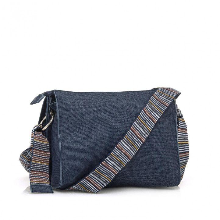 bolsos Maria Mare azul en formato bandolera con asas multicolores - Querol online