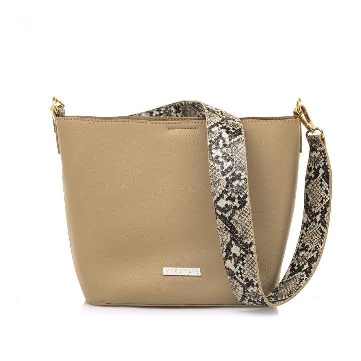 bolsos Maria Mare marrón con otro bolso en el interior y asa con estampado de serpiente - Querol online
