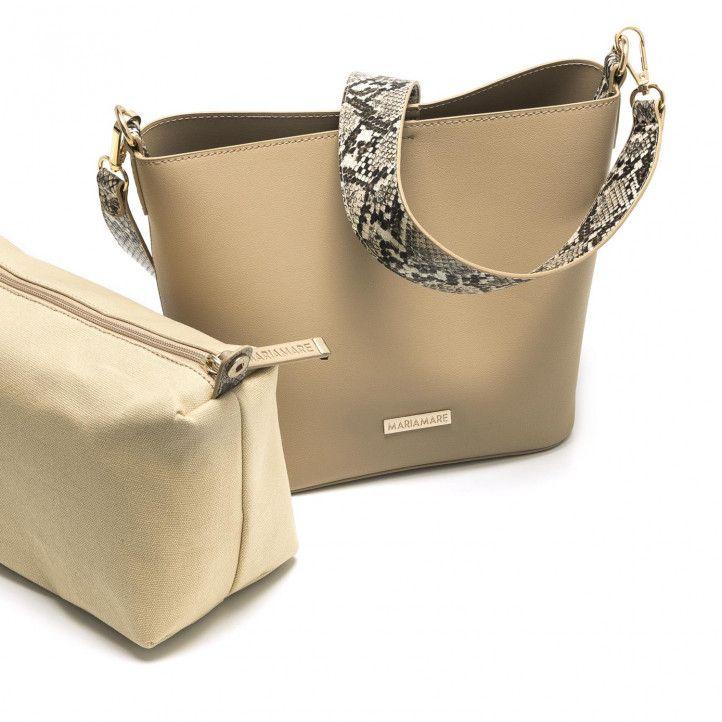 bosses Maria Mare marró amb una altra bossa a l'interior i estampat de serp - Querol online
