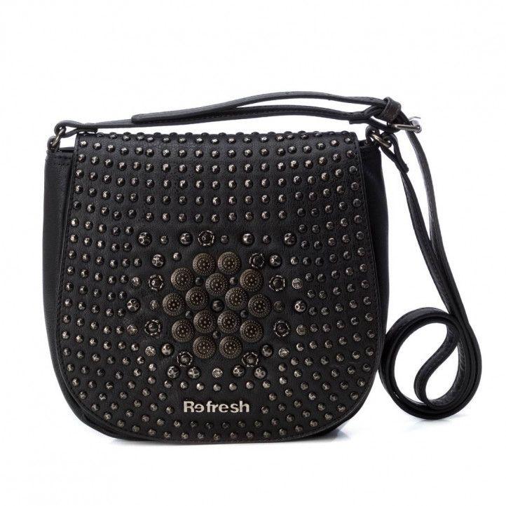 bolsos Refresh negro en formato bandolera y tachuelas - Querol online