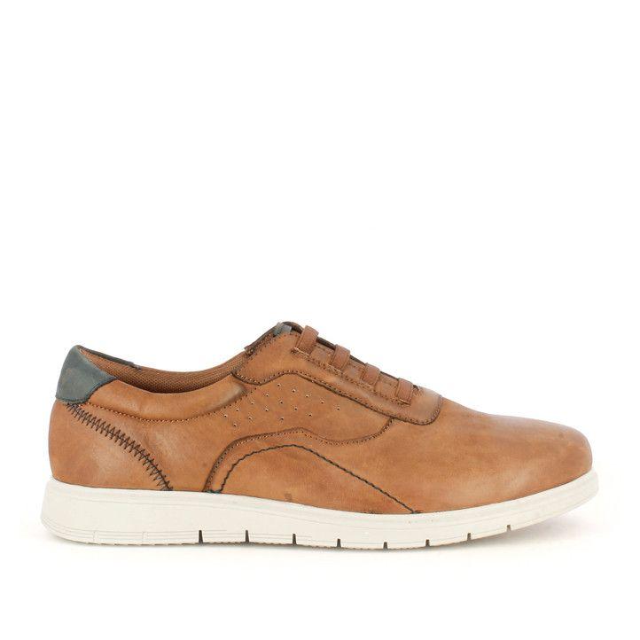 Zapatos sport Vicmart marrones con cordones elásticos y talón negro - Querol online