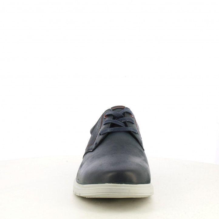 Zapatos sport Vicmart azules con cordones y talón rojo - Querol online