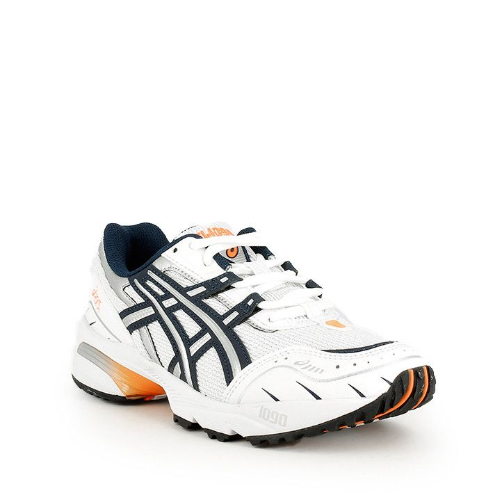 Zapatillas deportivas Asics GEL-1090 blancos con detalles en naranja y amortiguación en la suela - Querol online