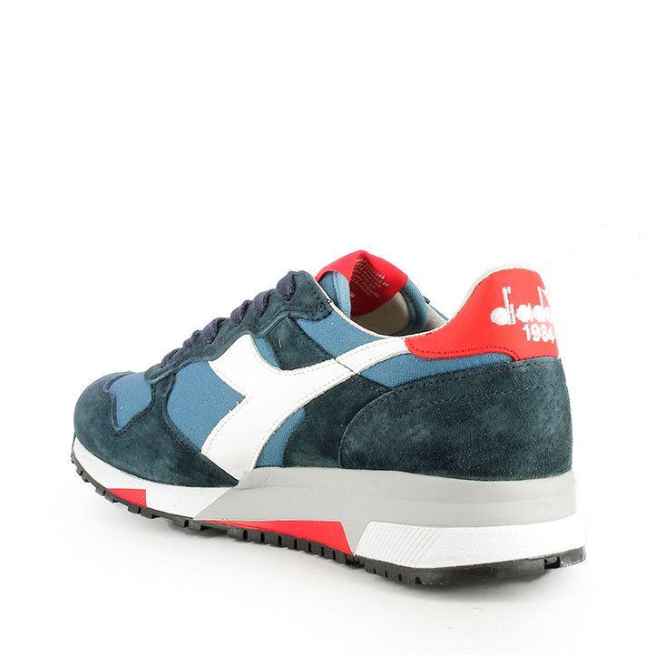 Zapatillas deportivas Diadora azules con detalles en blanco y talón rojo - Querol online