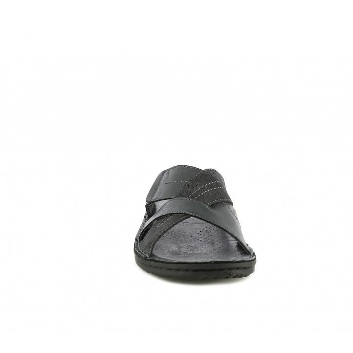 Sandalias Walk & Fly negras abiertas con tiras cruzadas de piel - Querol online