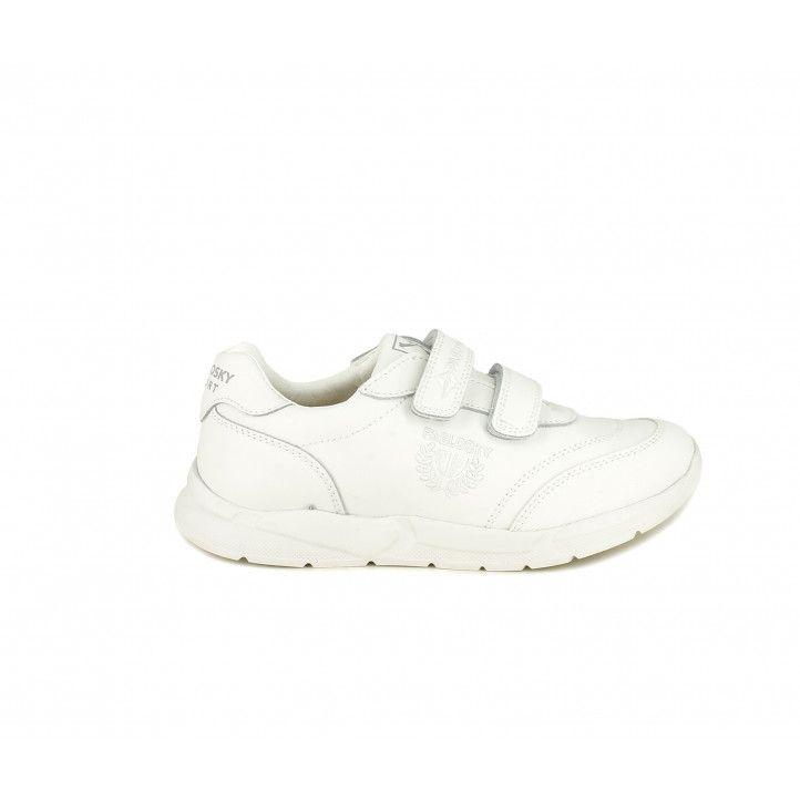 Zapatillas deporte Pablosky blancas con doble velcro y plantilla de piel - Querol online