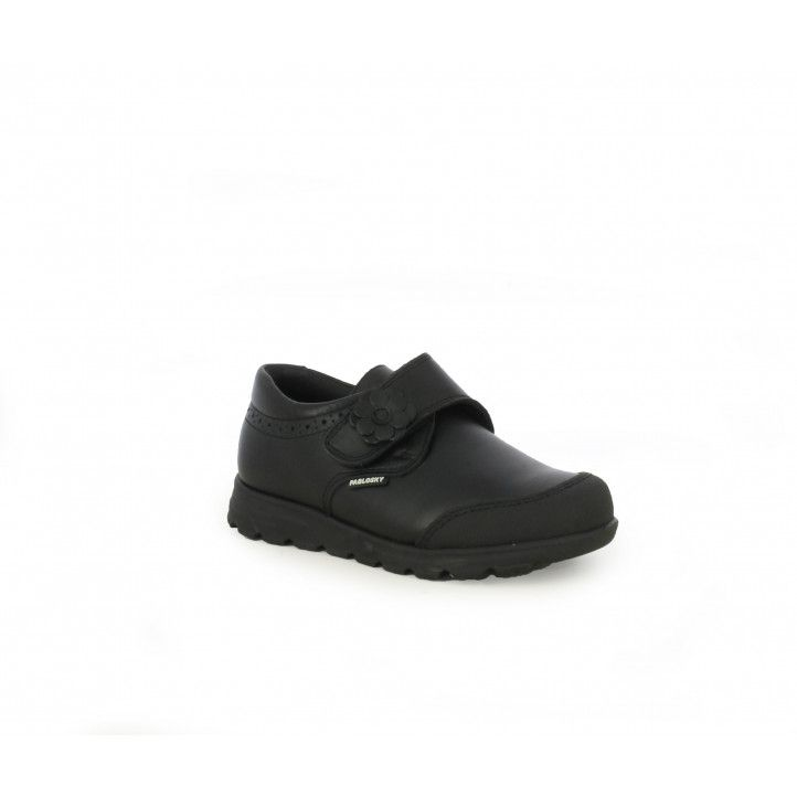 Zapatos Pablosky de piel negros con velcro y flor lateral - Querol online