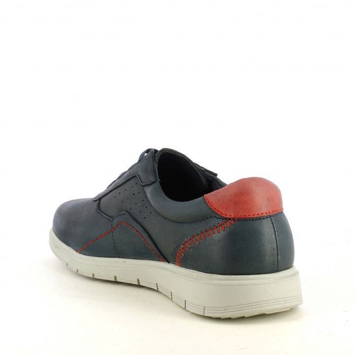 Zapatos sport Vicmart azules con cordones elásticos y talón rojo - Querol online