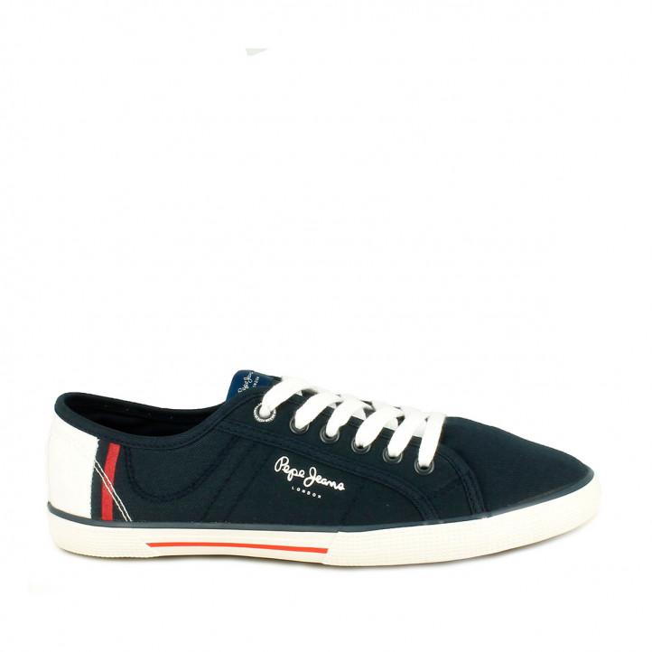 Zapatillas lona PEPE JEANS azules con detalles blancos y rojos - Querol online