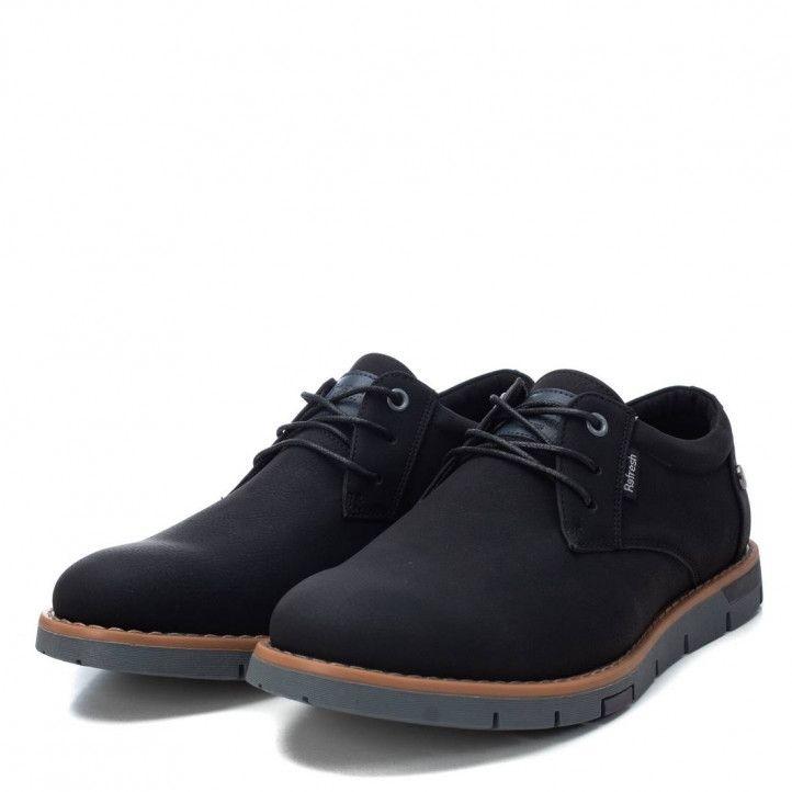 Zapatos sport Refresh negros con cordones y detalle marrón - Querol online