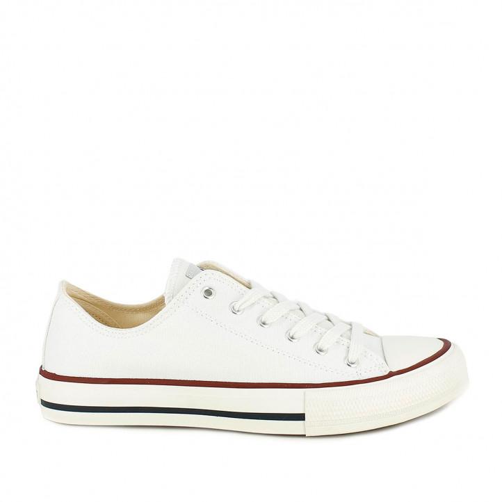 Zapatillas lona Victoria blancas bajas con cordones blancos - Querol online