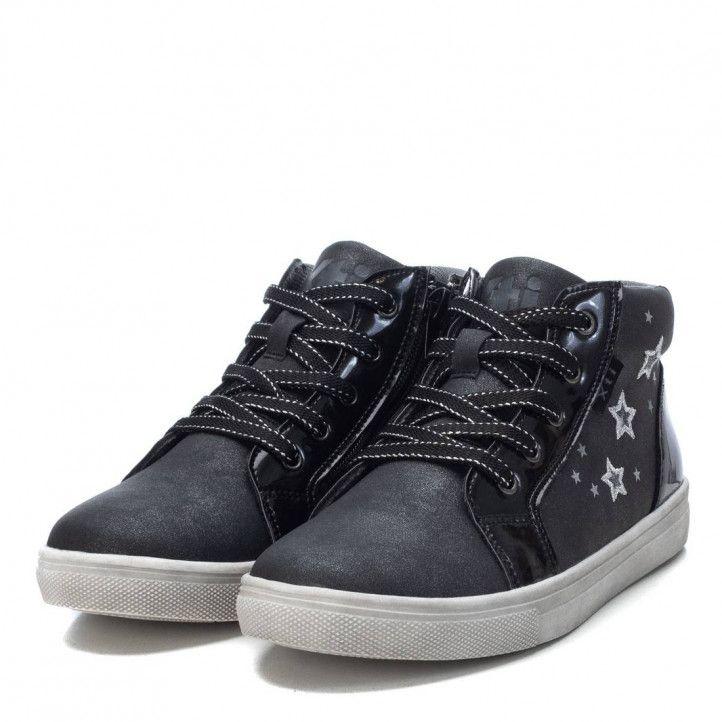 Zapatos abotinados Xti negros y grises con estrellas plateadas - Querol online