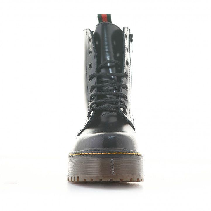 Botins plataforma Redlove negres de pell amb plataforma, cordons i cremallera - Querol online