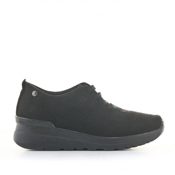 Zapatos cuña Amarpies negros de cuña media y cordones elásticos - Querol online