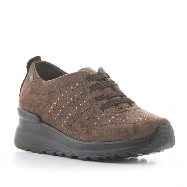 Zapatos cuña Amarpies marrones de cuña media y cordones elásticos - Querol online