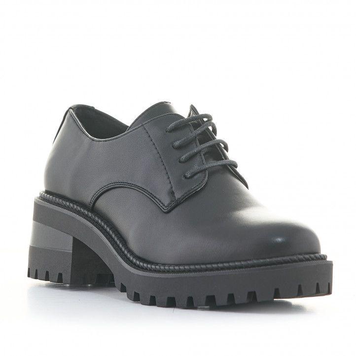 Zapatos tacón Owel negros estilo bluchers con cordones - Querol online