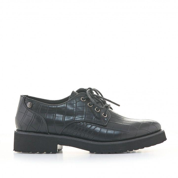 Zapatos planos D'Angela negros de cocodrilo con cordones - Querol online