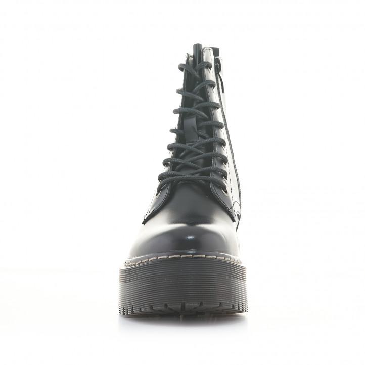 Botins plataforma Owel negres amb cremallera lateral i cordons - Querol online