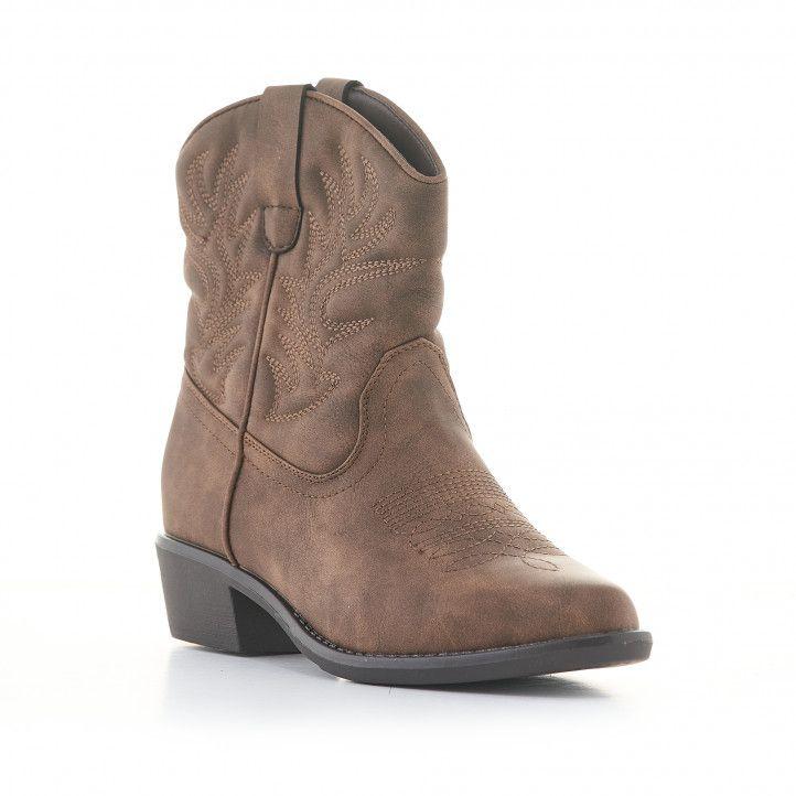 Botins de taló Owel marrons estil cowboy de canya baixa - Querol online