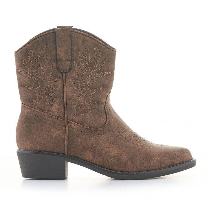 Botines tacón Owel marrones estilo cowboy de caña baja - Querol online