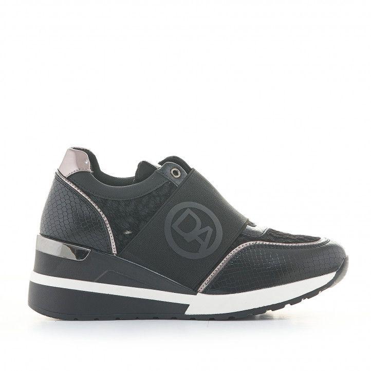 Zapatillas deportivas D'Angela negras de diferentes texturas y estampados con cuña - Querol online