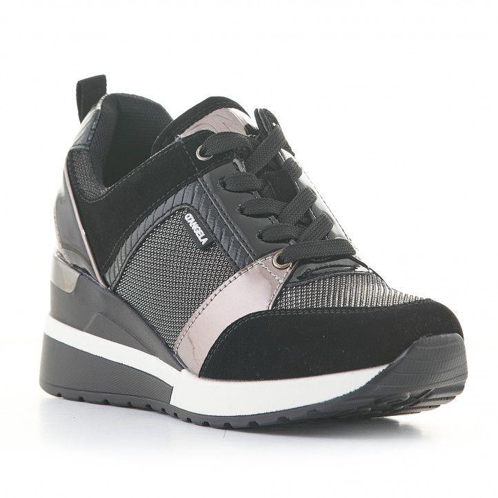 Zapatillas deportivas D'Angela negras y plateadas con cuña - Querol online