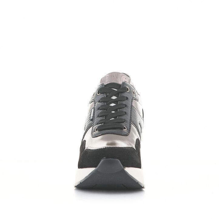 Sabatilles esportives D'Angela negres amb gris metal·litzat i falca - Querol online