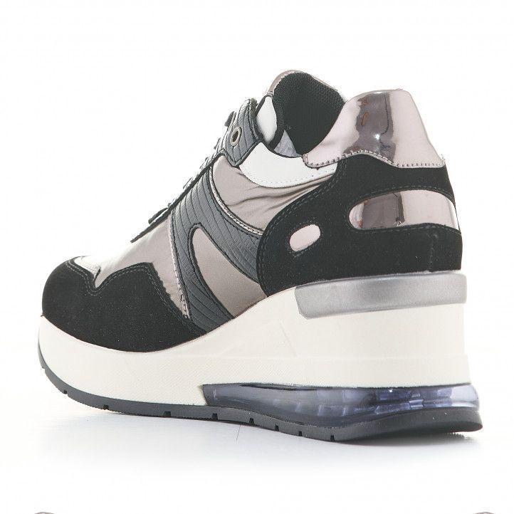 Zapatillas deportivas D'Angela negras con gris metalizado y cuña - Querol online