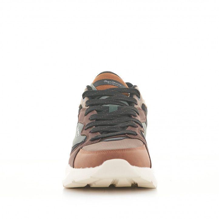 Zapatillas deportivas Pepe Jeans marrones y verdes con cordones - Querol online