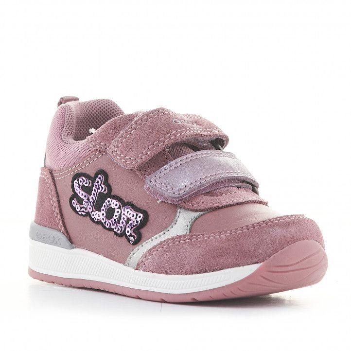 Sandalias abotinadas Geox de piel rosas con doble velcro y detalle de lentejuelas - Querol online