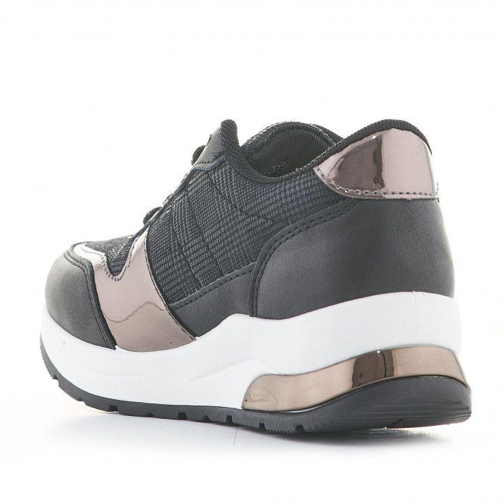 Zapatillas deporte K-TINNI negras con detalles metalizados y cuña - Querol online