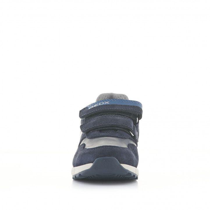 Sabatilles esport Geox blaves i grises de pell amb velcros - Querol online