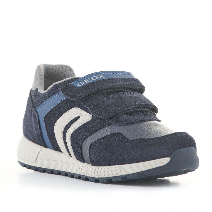 Zapatillas deporte Geox azules y grises de piel con velcros - Querol online
