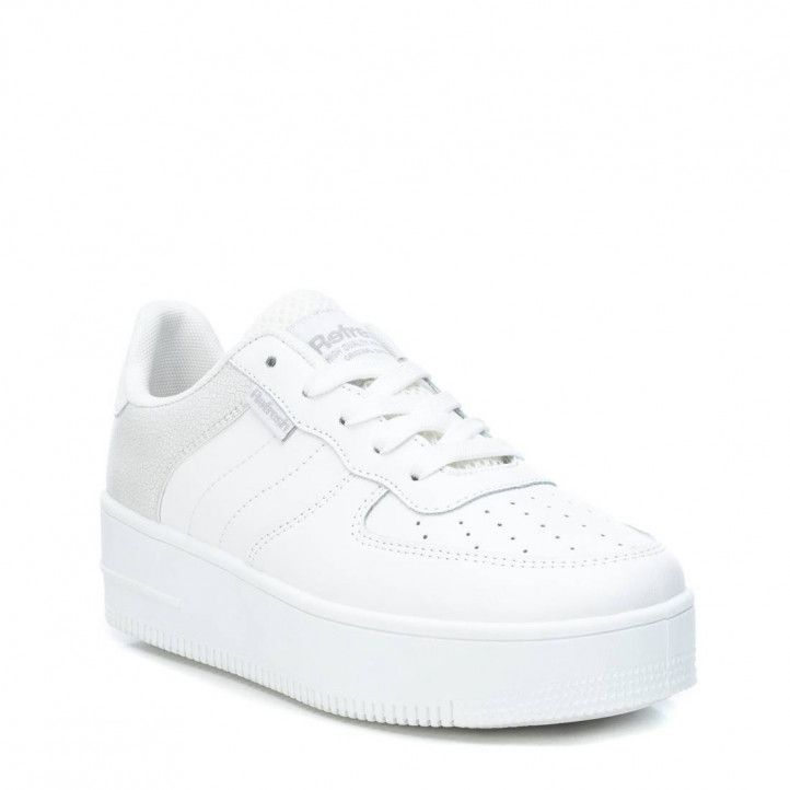 Zapatillas deportivas Refresh blancas de diferentes texturas con cordones - Querol online