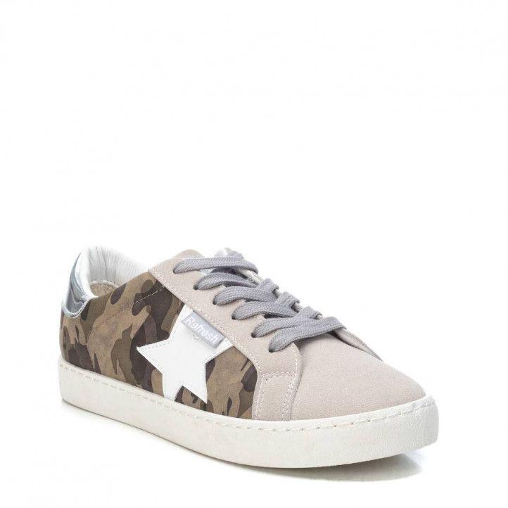 Zapatillas deportivas Refresh grises, verdes y marrones de estampado militar y cordones - Querol online