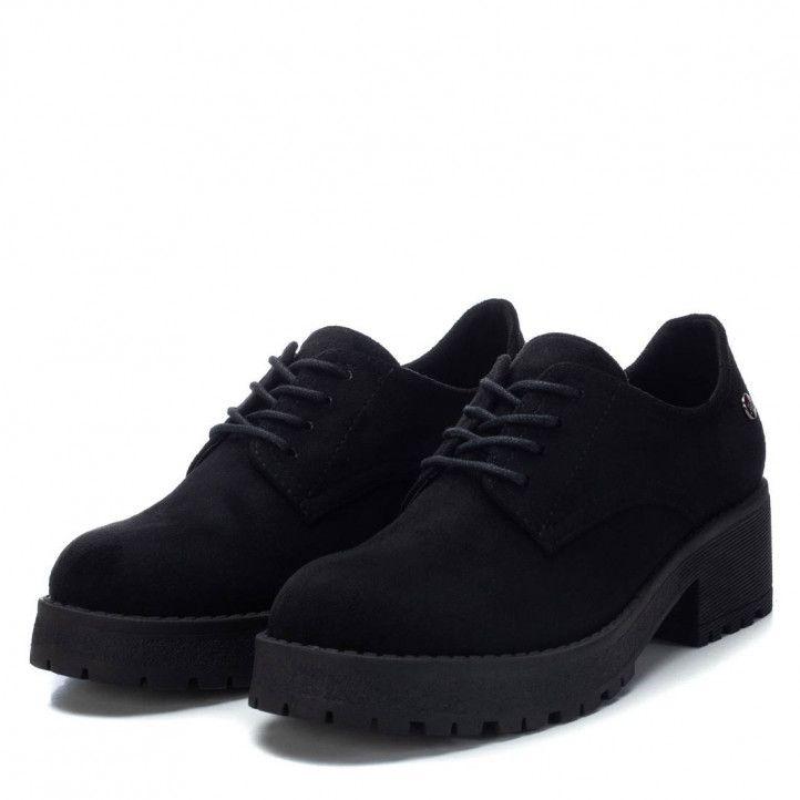 Zapatos tacón Xti negros con cordones tipo bluchers - Querol online