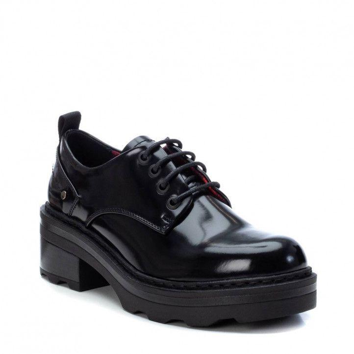 Zapatos tacón Xti negros de cordones con estampado interior - Querol online