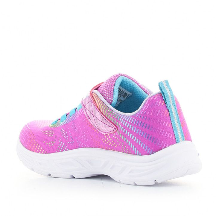 Zapatillas deporte Skechers rosas de luces con corodnes elásticos - Querol online