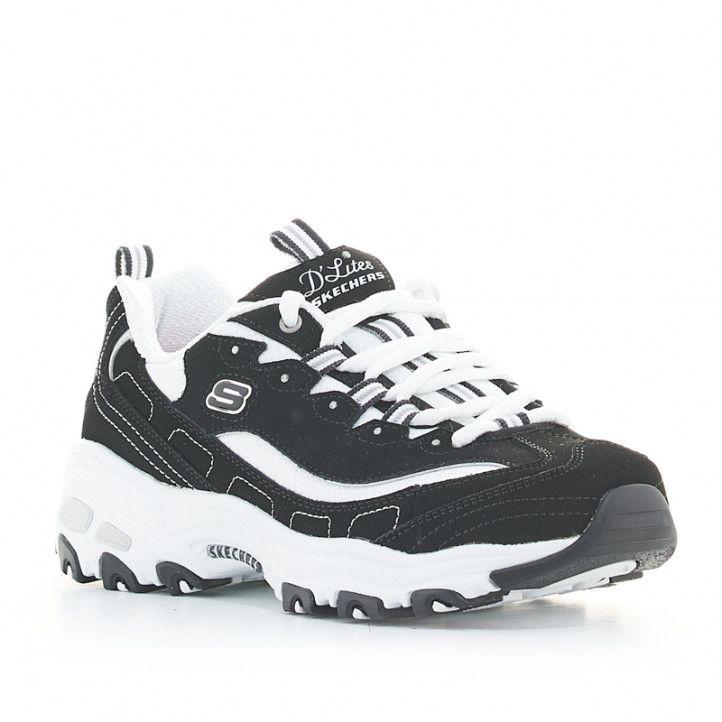 Zapatillas deportivas Skechers negras y blancas d'lites biggest fan - Querol online